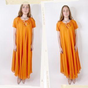Vintage 90s Orange Grecian Boho Maxi Muumuu Dress